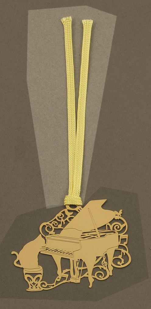 キャットブックマーク ゴールドピアノ ※お取り寄せ商品 【音楽雑貨 音符・ピアノモチーフ】