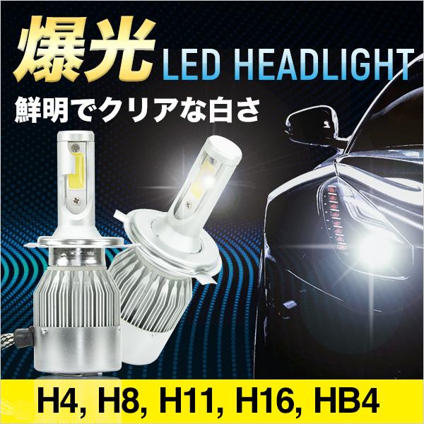 LED ヘッドライト 4000lm H4 Hi/Lo H8 H11 H16 HB4 6000K 2個セット 冷却ファン コンパクト