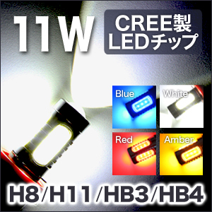 LEDウェッジ球  11W CREE製 HB3 HB4 H8 H11 交換用 フォグランプ
