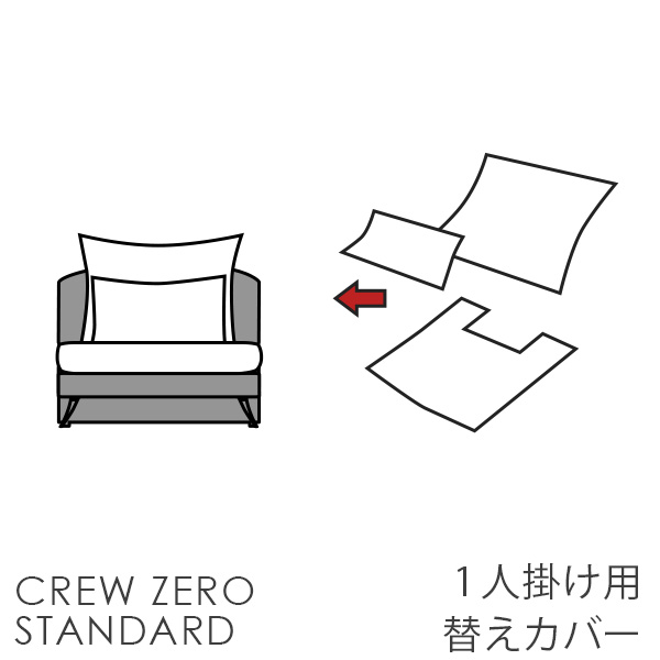 替えカバー  クルー・ゼロスタンダード 1人掛け用(75cm幅) 受注生産品 座面クッションと背面クッションのカバー