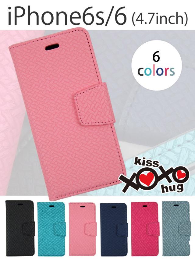 XOXO kiss×hug 【iPhone6s/6】ビビットなエスニックパターン手帳型ケース 手になじむナチュラルテイスト 高品質PUレザー 全6色
