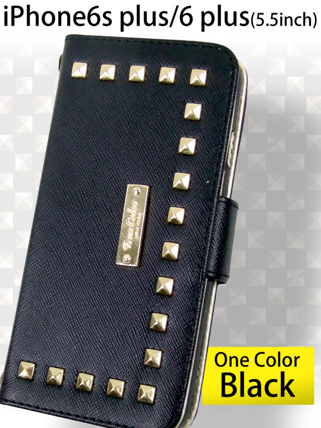 【iPhone6s plus/6 plus】ゴールドスタッズデザイン手帳型ケース センターエンブレム 手になじむ 高品質マットPUレザー