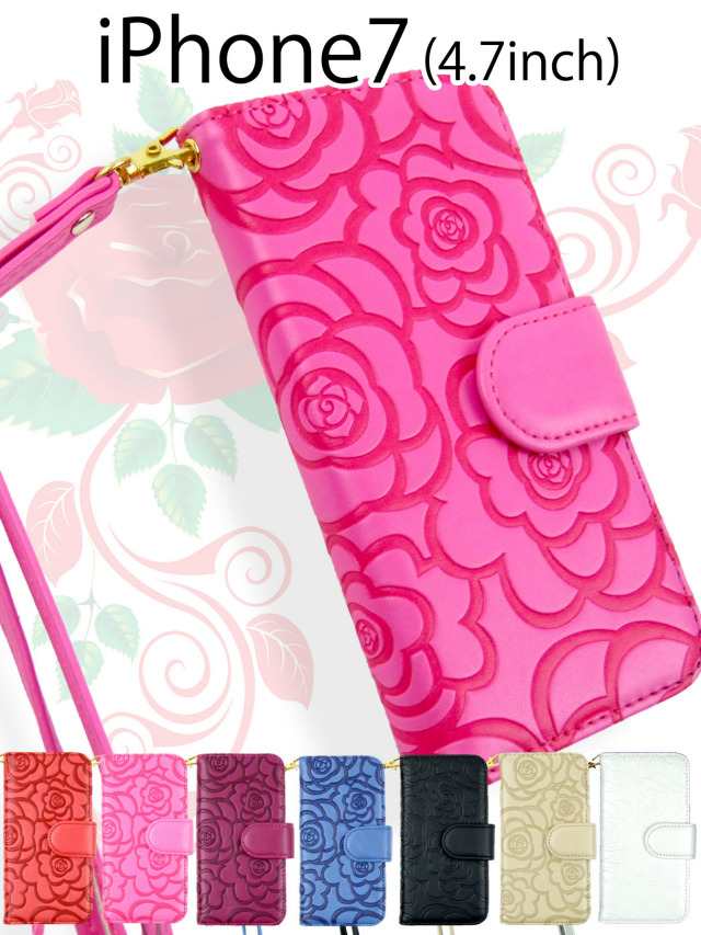 【iPhone7】高級質感!カメリアフラワーモチーフ手帳型ケース マットタイプ バラ 花柄 ストラップ付き PUレザー 全7色