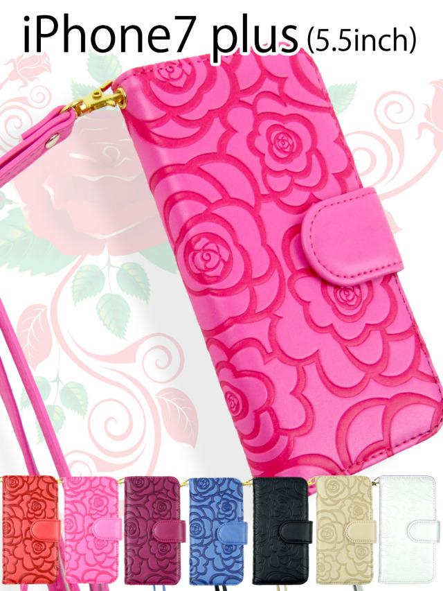 【iPhone7 plus】高級質感!カメリアフラワーモチーフ手帳型ケース マットタイプ バラ 花柄 ストラップ付き PUレザー 全7色