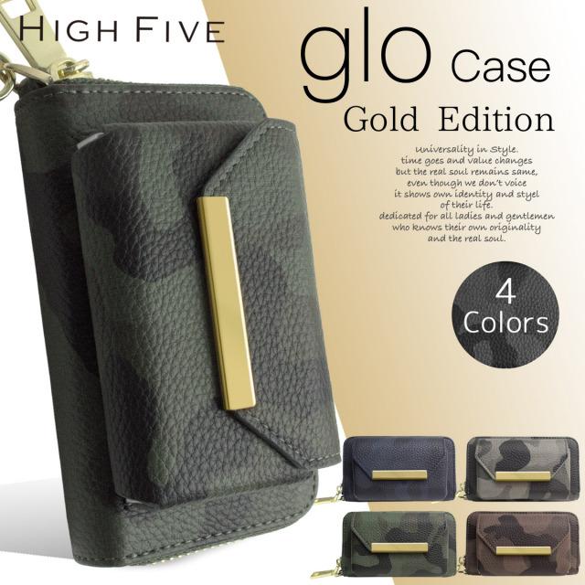 HIGH FIVE gloをクールに持ち運び。 トゴ風レザー カモ柄 gloケース グローケース ハンドストラップ付 4色