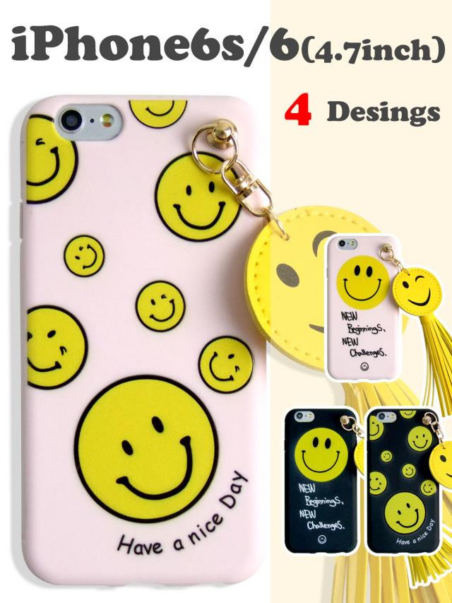 【iPhone6s/6】 ハッピースマイル^^ ピースマークソフトケース ボリュームタッセル かわいいイラスト ブラック ピンク 2カラー