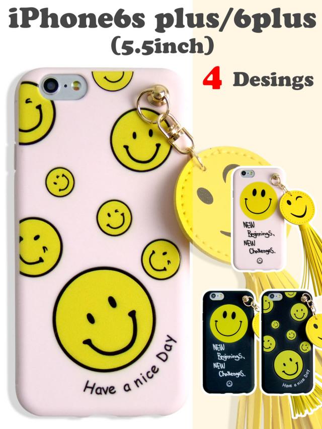 【iPhone6splus/6plus】 ハッピースマイル^^ ピースマークソフトケース ボリュームタッセル かわいいイラスト ブラック ピンク 2カラー