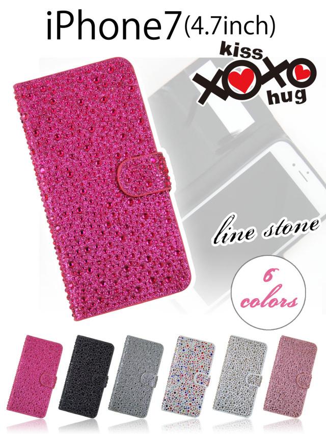 XOXO kiss×hug【iPhone7】明るく楽しいストーンデコレーション手帳型ケース パーティーモチーフなラインストーン ストーンフィルム 全6色