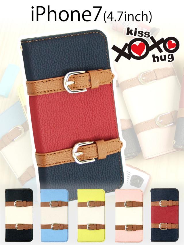 XOXO kiss×hug【iPhone7】ツートンカラーがかわいい 手帳型iPhoneケース 2本ベルトがアクセント カラーパターンは選べる5種類