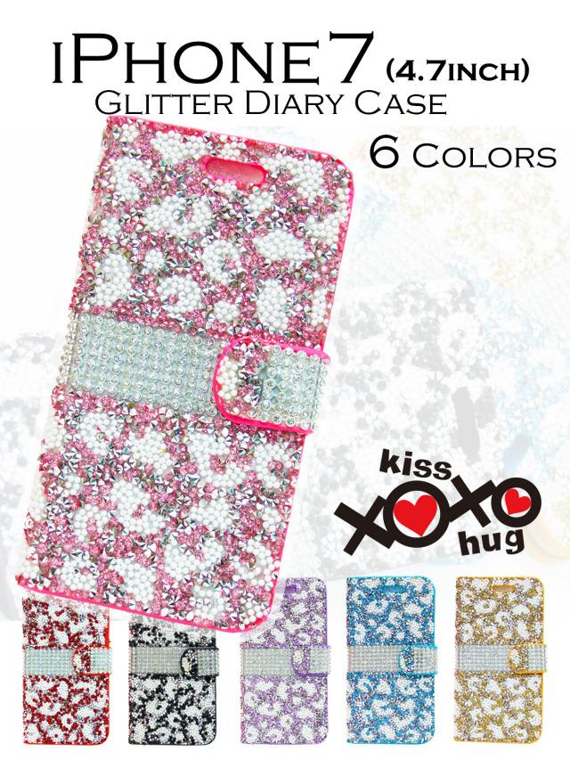 XOXO kiss×hug【iPhone7】きらきらフラワーグリッターダイアリー 手帳型ケース お花モチーフで輝きが可愛い 全6カラー