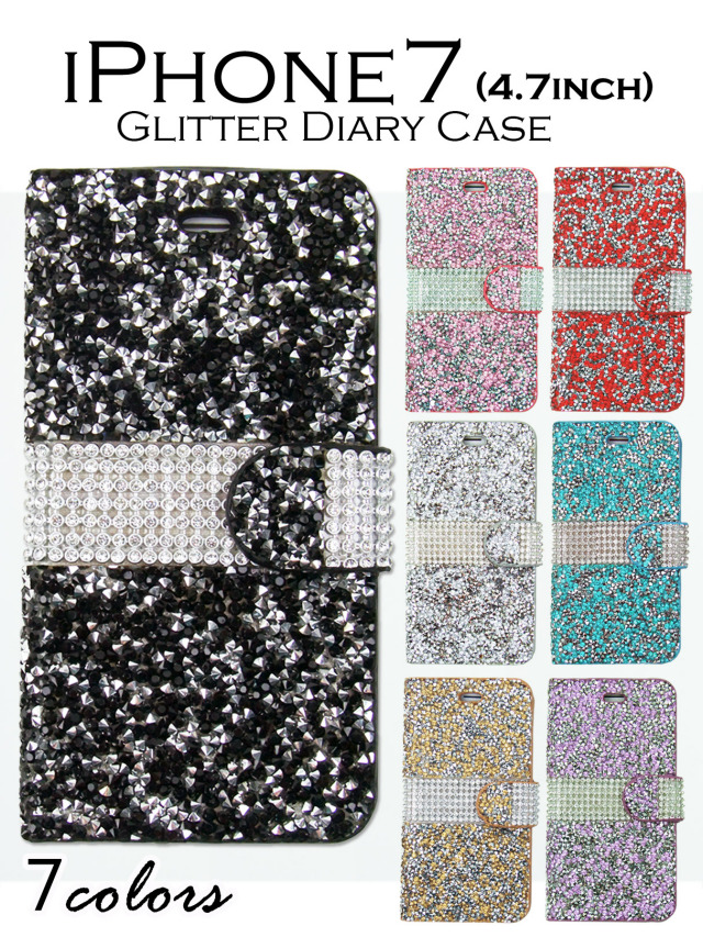 【iPhone7】きらきらオールグリッタータイプ 手帳型ケース 可愛いグリッターストーンで輝くスマホケース 全7カラー