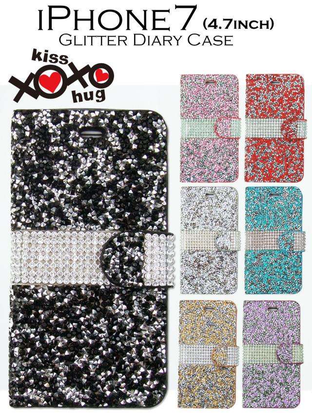 XOXO kiss×hug【iPhone7】きらきらオールグリッタータイプ 手帳型ケース 可愛いグリッターストーンで輝くスマホケース 全7カラー