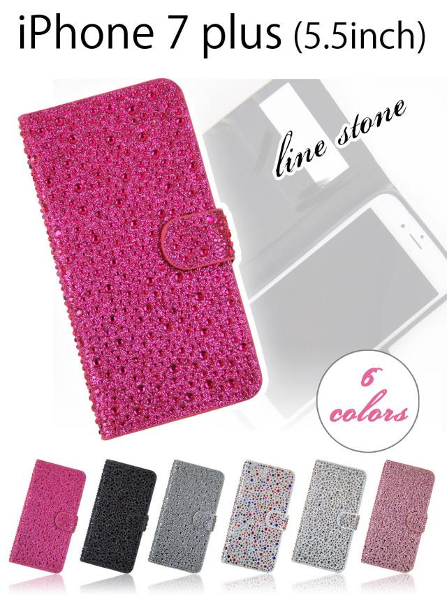 【iPhone7 plus】明るく楽しいストーンデコレーション手帳型ケース パーティーモチーフなラインストーン 全6色