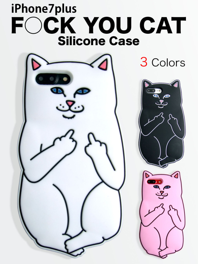 【iPhone7plus】 アノイングキャット 中指立てちゃってる ソフトケース シリコン素材で扱いやすい ゆるカワ ホワイト