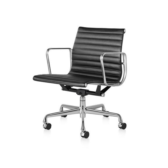 【ハーマンミラー正規品】イームズアルミナムグループチェア マネージメントチェア 黒皮革 アルミバフベース Eames Aluminum Group Management Chair