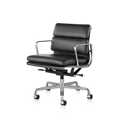 【ハーマンミラー正規品】イームズソフトパッドグループチェア マネージメントチェア 黒皮革 アルミバフベース Eames Soft Pad Group Management Chair