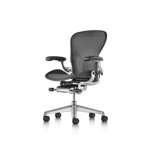 Aeron Chair Remastered アーロンチェア リマスタード ポスチャーフィットSL フル装備 グラファイト/ポリッシュドアルミニウムベース Bサイズ