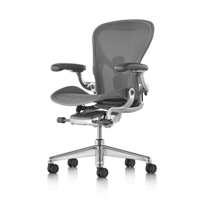 【ハーマンミラー正規販売店】アーロンチェア リマスタード フル装備 カーボン/ポリッシュドアルミニウムベース  Aeron Chair Remastered