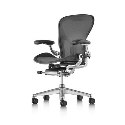 【Herman Miller正規販売店】Aeron Chair Remastered アーロンチェア リマスタード ポスチャーフィットSL フル装備 グラファイト/ポリッシュドアルミニウムベース レザーアーム
