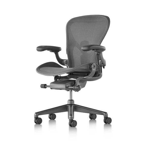 "【Herman Miller正規販売店】アーロンチェア リマスタード Aeron Chair Remastered フル装備 カーボン/サテンカーボンベース ""Bサイズ"""