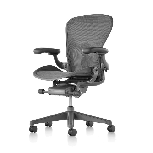"【Herman Miller正規販売店】アーロンチェア リマスタード Aeron Chair Remastered フル装備 カーボン/ダークカーボンベース ""Bサイズ"""