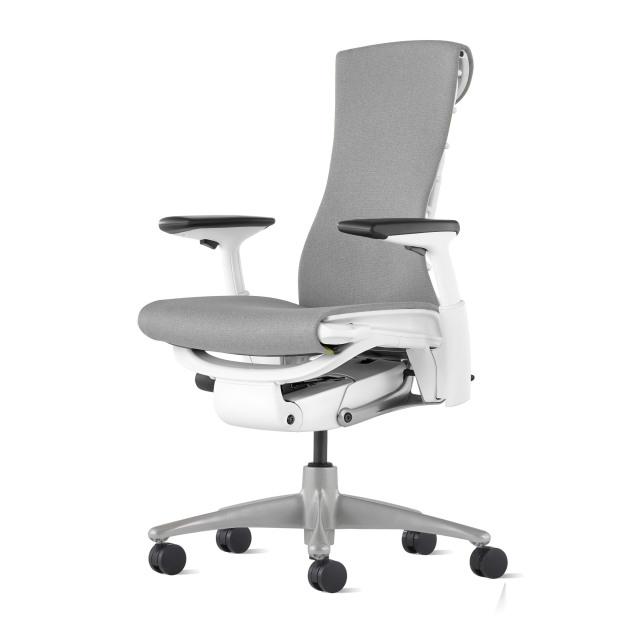【在庫あり【ハーマンミラー正規販売店】エンボディチェア Embody Chair  ホワイト/チタニウムベース メドレー生地フェザーグレー