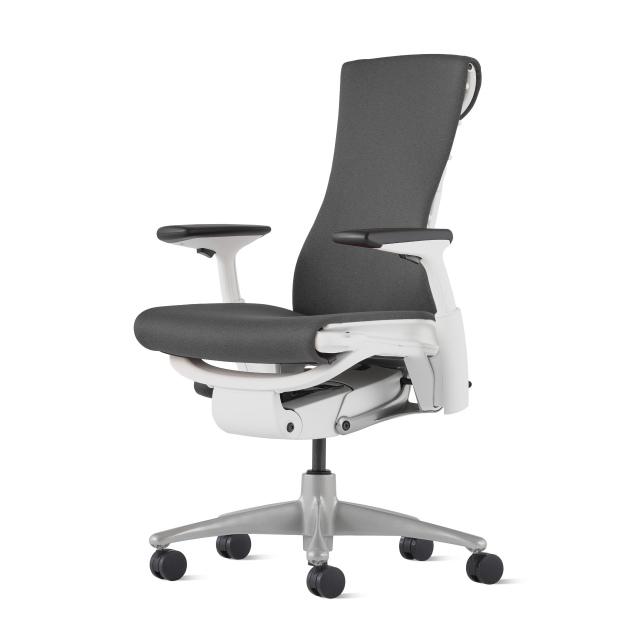【次回9月下旬在庫入荷予定】【ハーマンミラー正規販売店】エンボディチェア Embody Chair  ホワイト/チタニウムベース シンク生地ダークカーボン