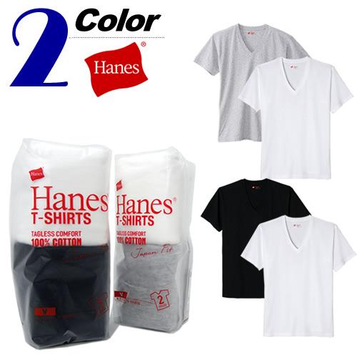 Hanes[ヘインズ]2枚組VネックTシャツ