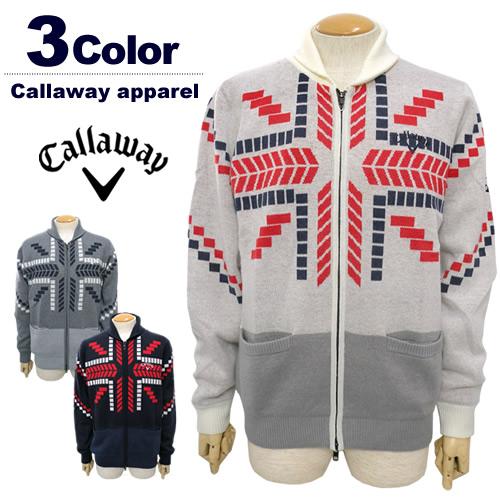 【SALE/セール50%OFF】Callaway apparel[キャロウェイアパレル]ユニオンジャックニットブルゾン【2017年秋冬】