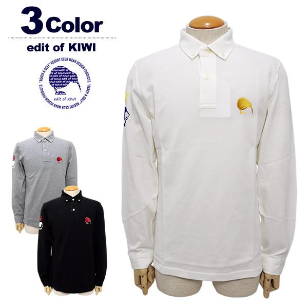 【SALE/セール20%OFF】edit of KIWI[エディットオブキウイ]Dry Pique LS BD Polo2/ドライ鹿の子ロングスリーブポロシャツ【2018年秋冬】