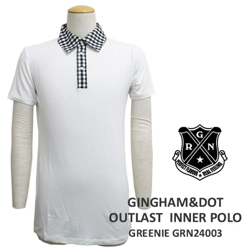 GREENIE[グリーニー]ギンガム&ピンドットインナーポロ