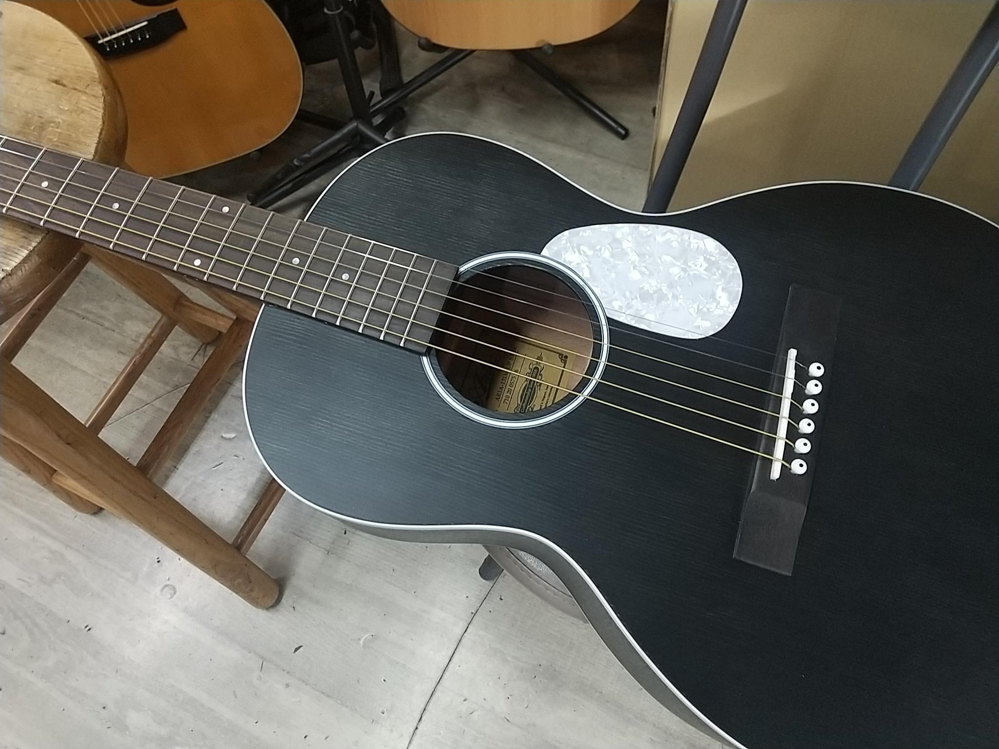 Aria-131M UP STBK Urban Player パーラーギター アリア 131 ブラック 黒 BLACK ピックアップ付き