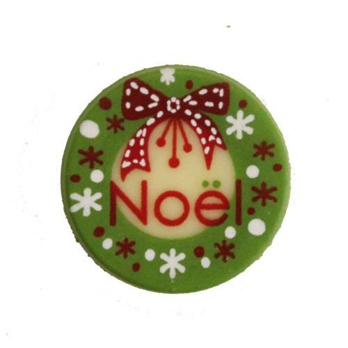 2475 丸プレートノエル  6個入り   / クリスマス チョコプレート オーナメント