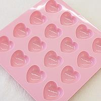 チョコレートモールド ハートピンク 16個取