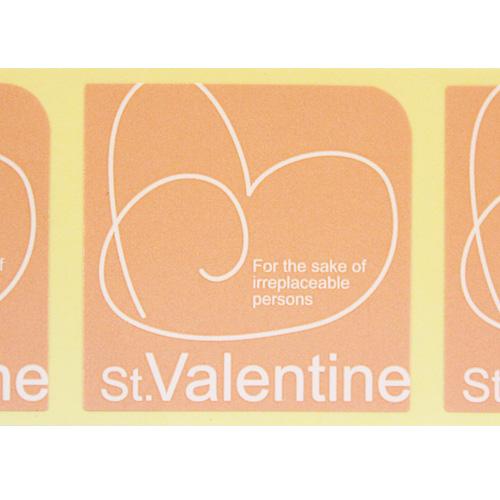 【シール】バレンタインピンクスクエア 4枚入1シート