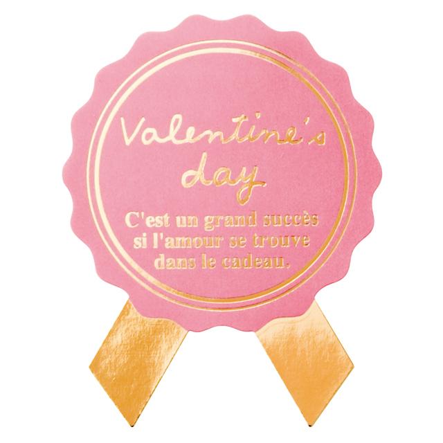 【シール】バレンタインシールリボン型ピンク 5枚入1シート