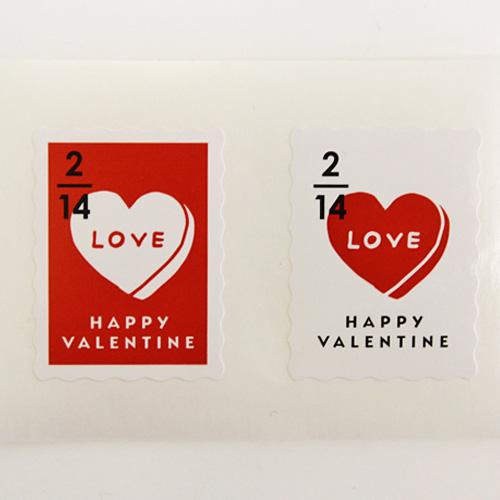 【シール】バレンタインスタンプ 2色アソート6枚入