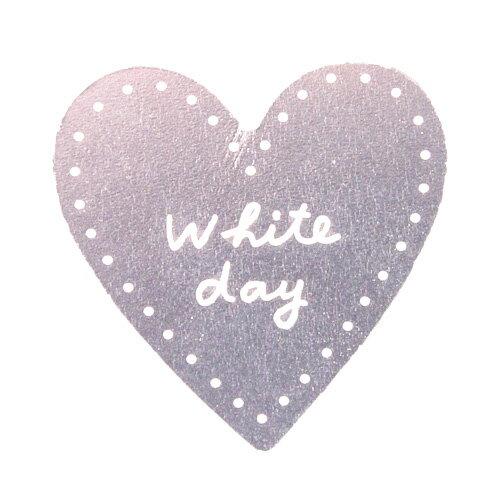 ホワイトデイケーキピック ハートシルバー 1枚 【メール便可】
