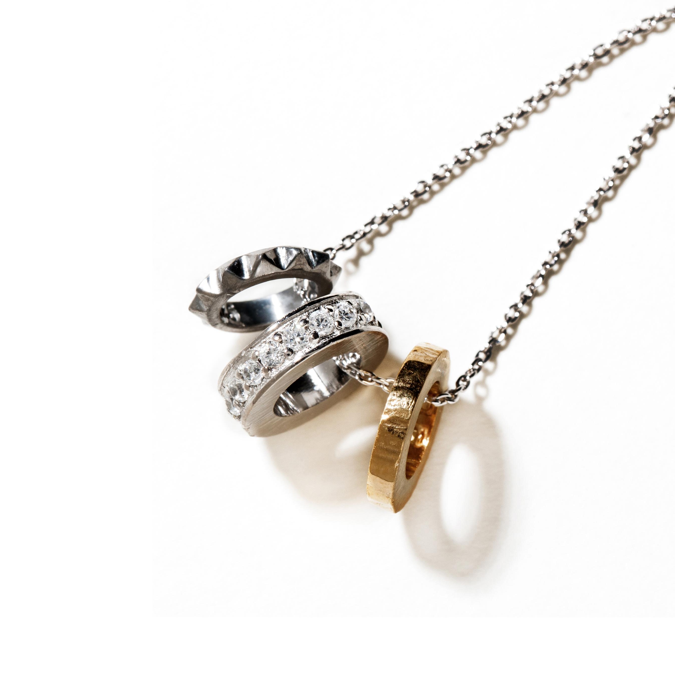 【DUB collection|ダブコレクション】Trinity Ring Necklace トリニティリングネックレス DUBj-385-1【ユニセックス】
