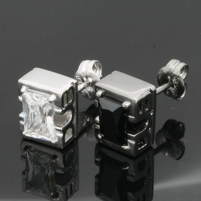 "受注生産(オーダー)【DUB Collection|ダブコレクション】Side Emblem Stone ""rectangle"" Pierce DUBj-236-1-2(BK&WH)【ペア】"