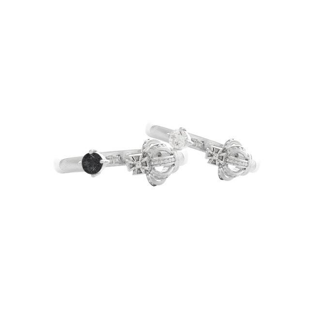 受注生産(オーダー)【DUB Collection│ダブコレクション】Crown Fork Ring クラウンフォークリング DUBj-369-1-2(BK&WH)【ペアリング】