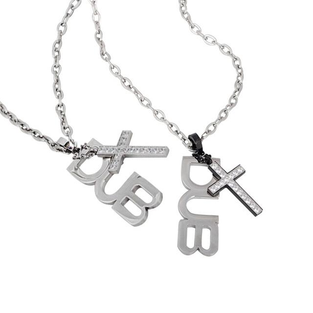 【DUB Collection│ダブコレクション】  DUBJSS-13Pair stainless necklace ステンレスネックレス WHCZ クロス ロゴプレート