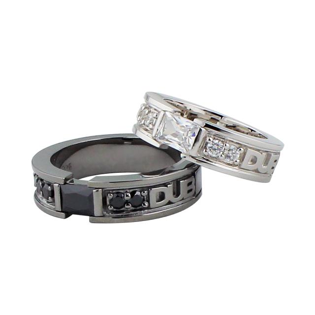受注生産(オーダー)【DUB collection|ダブコレクション】Chic Bar ring DUBj-155-1-2(BK&WH)【ペア】