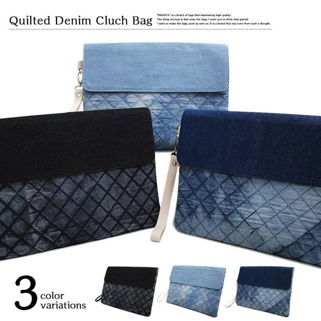 Quilted Denim Cluch Bag キルティング デニム クラッチバッグ 【ユニセックス】