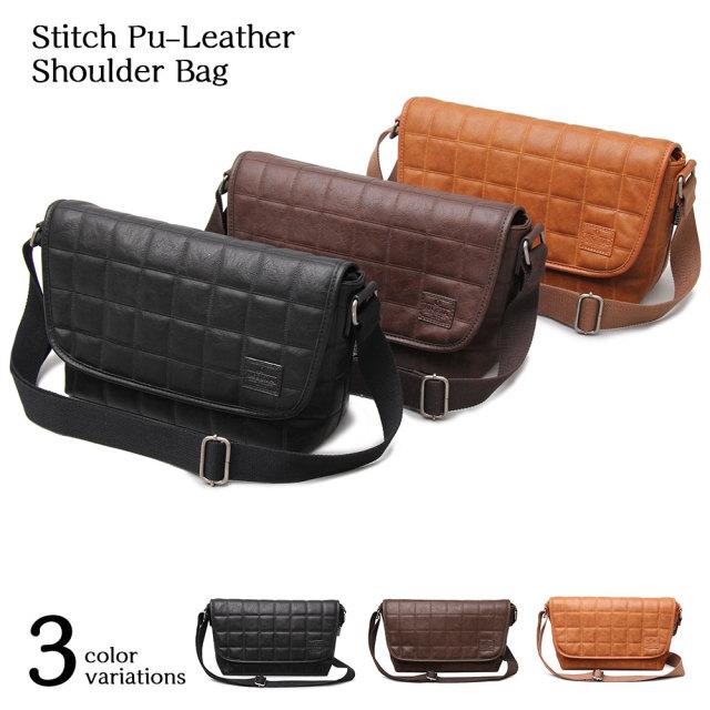 Stitch Pu-Leather Shoulder Bag スティッチポリウレタンレザーショルダーバッグ 【ユニセックス】