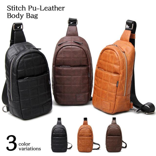 Stitch Pu-Leather Body Bag スティッチポリウレタンレザーボディバッグ 【ユニセックス】