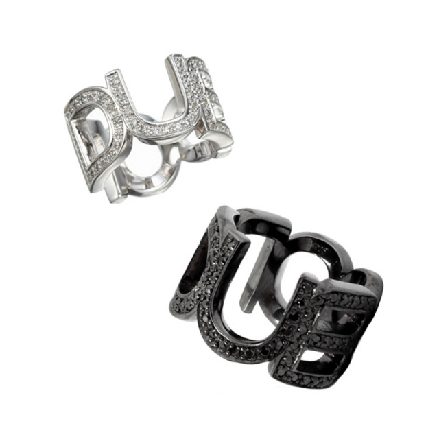 【DUB Collection|ダブコレクション】Emblem ring DUBj-104-3-4-pair(BK&WH)【ペア】