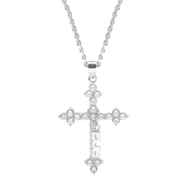 魅力的な色気を演出♪【DUB collection|ダブコレクション】Sacred Cross Necklace セイクリッド クロス ネックレス DUBj-200-2(WH)【ユニセックス】