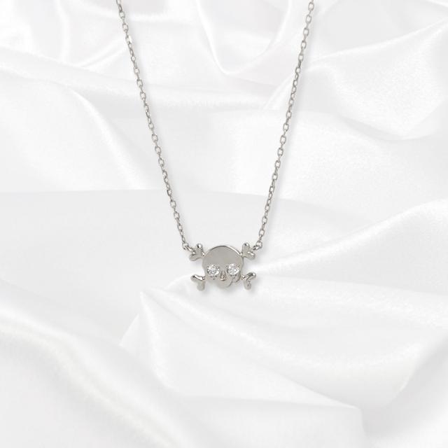 【kikira】Skull Necklace スカルネックレス WH【桜井莉菜model】 kkr-002-1
