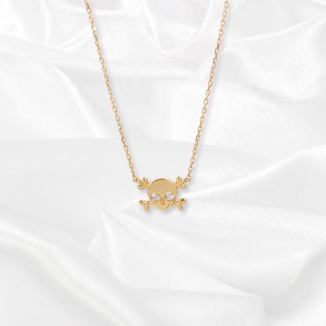 【kikira】Skull Necklace スカルネックレス GD【桜井莉菜model】 kkr-002-2